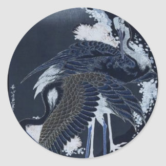 Japanese Cranes painting c. 1832-33 Classic Round Sticker