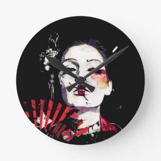 Japanese creepy geisha round clock