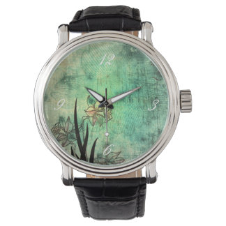 Japanese Daffodil Aquamarine Scratch Print Watch