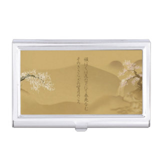 Japanese Design :: Sakura by the River sepia style Case For Business Cards