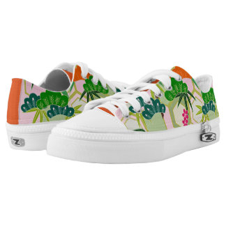Japanese design with flowers and leaves Low-Top sneakers