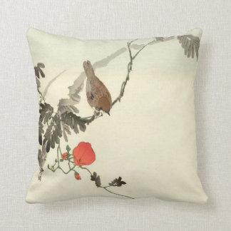 Japanese Dogwood With Bird Throw Pillow