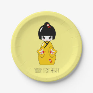 Japanese doll 7 inch paper plate