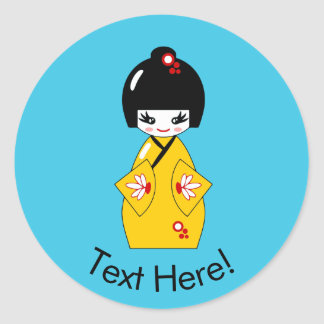 Japanese doll classic round sticker