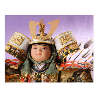 Japanese Doll with suit of Armor Postcard