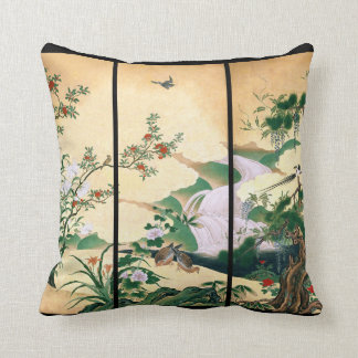 Japanese Doves Wisteria Flowers Waterfall Pillow