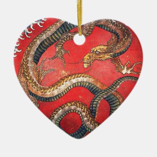 Japanese Dragon Ceramic Heart Ornament