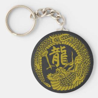 Japanese Dragon Crest & Kanji Keychain