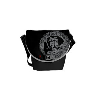 Japanese Dragon Crest & Kanji Messenger Bag