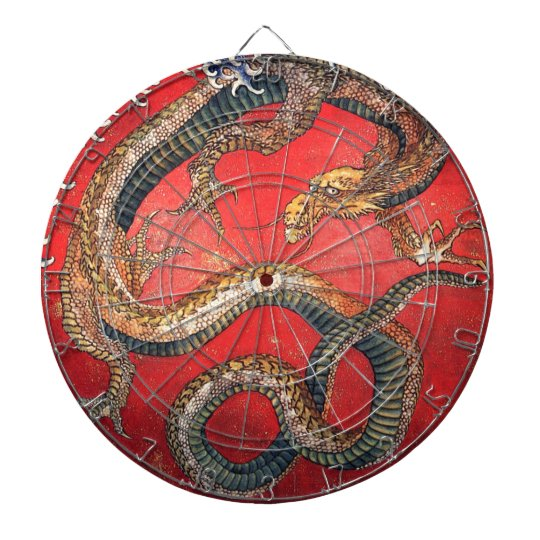 Japanese Dragon Dartboard With Darts
