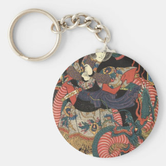 Japanese Dragon Painting circa 1860 Basic Round Button Keychain