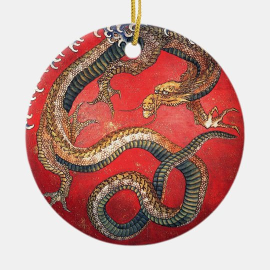 Japanese Dragon Round Ceramic Ornament