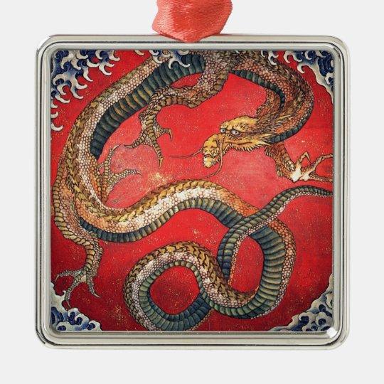 Japanese Dragon Silver-Colored Square Ornament