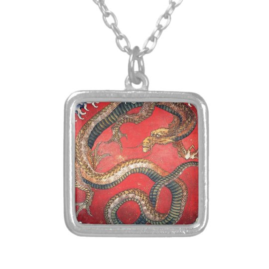 Japanese Dragon Silver Plated Necklace