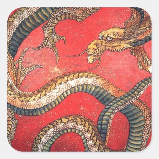 Japanese Dragon Square Sticker