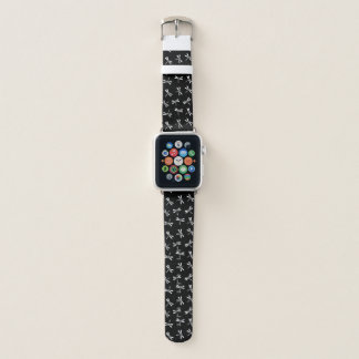 Japanese Dragonfly Pattern, Black and White Apple Watch Band