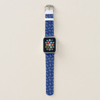 Japanese Dragonfly Pattern, Cobalt and Sky Blue Apple Watch Band