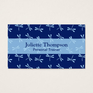 Japanese Dragonfly Pattern, Cobalt and Sky Blue Business Card