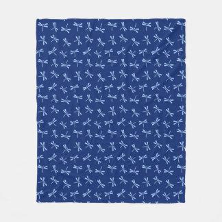 Japanese Dragonfly Pattern, Cobalt and Sky Blue Fleece Blanket