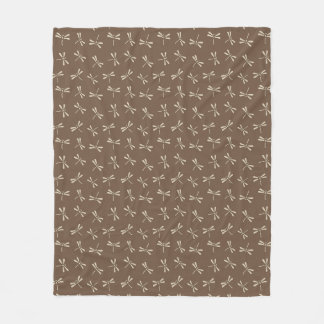 Japanese Dragonfly Pattern, Cream and Taupe Tan Fleece Blanket