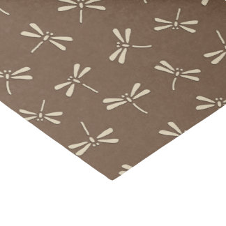 Japanese Dragonfly Pattern, Cream and Taupe Tan Tissue Paper