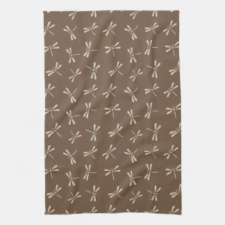 Japanese Dragonfly Pattern, Cream and Taupe Tan Towel