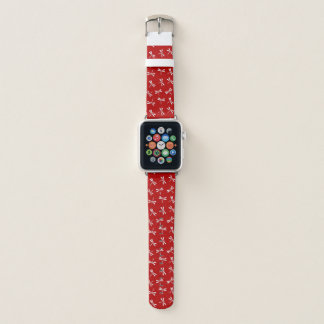 Japanese Dragonfly Pattern, Deep Red and White Apple Watch Band