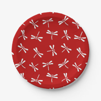 Japanese Dragonfly Pattern, Deep Red and White Paper Plate