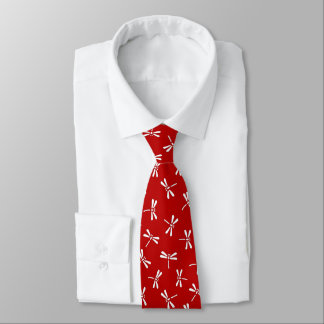 Japanese Dragonfly Pattern, Deep Red and White Tie