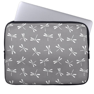 Japanese Dragonfly Pattern, Grey / Gray and White Laptop Sleeve