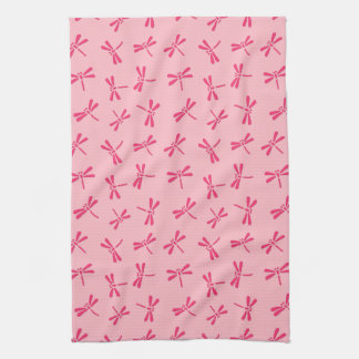 Japanese Dragonfly Pattern, Light Coral Pink Kitchen Towel
