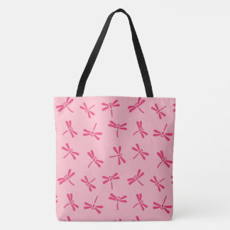 Japanese Dragonfly Pattern, Light Coral Pink Tote Bag