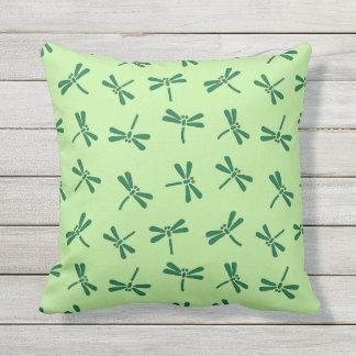 Japanese Dragonfly Pattern, Light Jade Green Throw Pillow