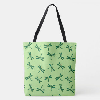 Japanese Dragonfly Pattern, Light Jade Green Tote Bag