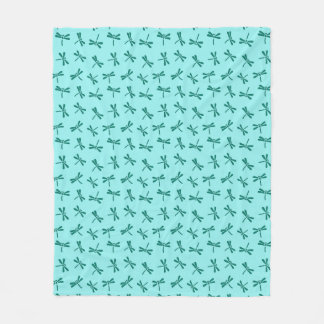 Japanese Dragonfly Pattern, Turquoise and Aqua Fleece Blanket
