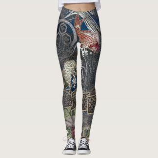 Japanese Embroidered Silk Koi Leggings