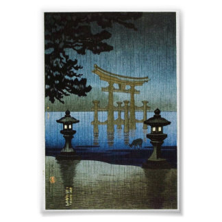 Japanese Evening Rain Art Woodblock Ukiyo-E Poster