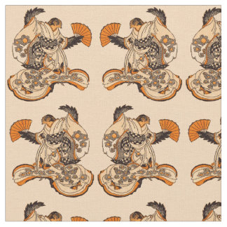 Japanese fairytale The Tongue Cut Sparrow print Fabric