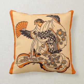 Japanese fairytale The Tongue Cut Sparrow print Throw Pillow