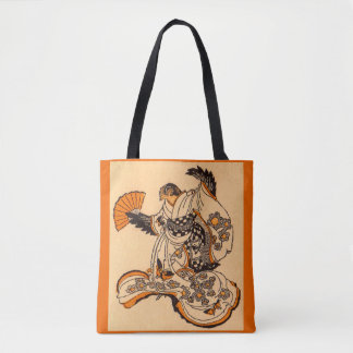 Japanese fairytale The Tongue Cut Sparrow print Tote Bag
