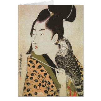 Japanese Falconer in a Kimono Vintage Art Card