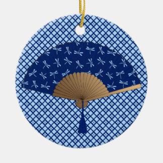 Japanese Fan, Dragonfly Pattern, Cobalt Blue Ceramic Ornament