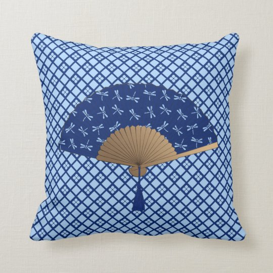 Japanese Fan, Dragonfly Pattern, Cobalt Blue Throw Pillow