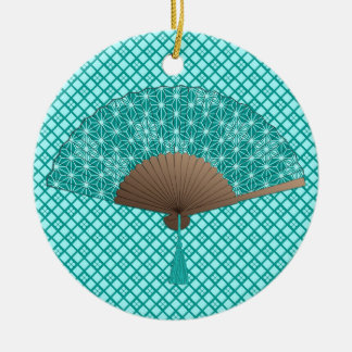 Japanese Fan in Asanoha pattern, Turquoise Ceramic Ornament