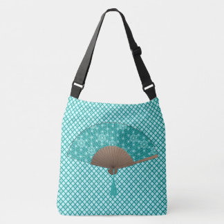 Japanese Fan in Asanoha pattern, Turquoise Crossbody Bag