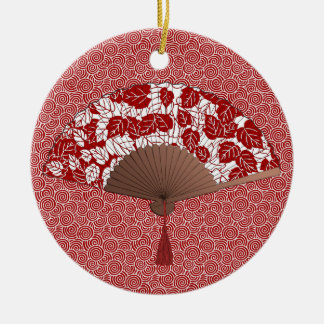 Japanese Fan in Leaf Print, Dark Red and White Ceramic Ornament