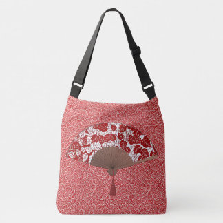 Japanese Fan in Leaf Print, Dark Red and White Crossbody Bag