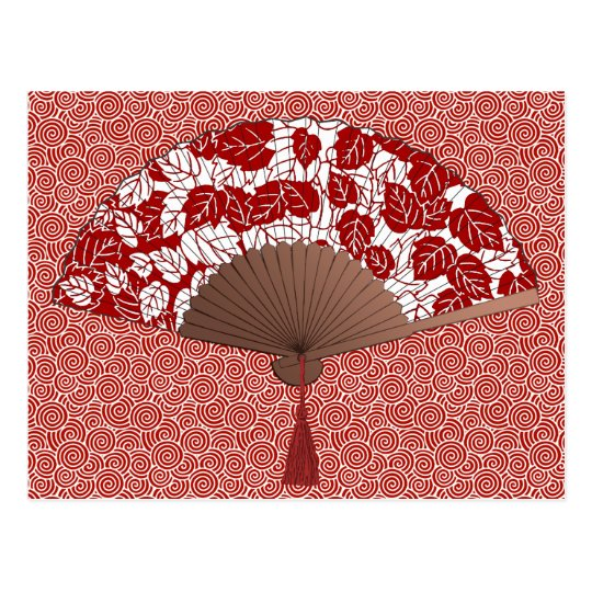 Japanese Fan in Leaf Print, Dark Red and White Postcard