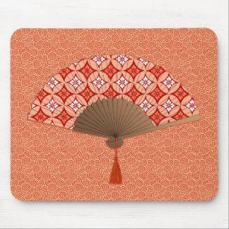 Japanese Fan, Shippo Motif, Mandarin Orange Mouse Pad