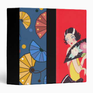 Japanese Fans and Girl Red Gold Blue Binder